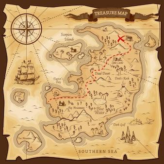 Map treasures paper parchment