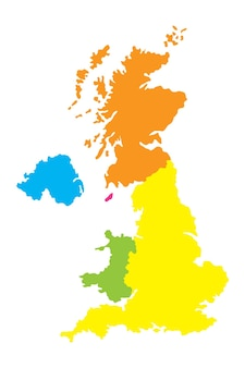 Map of united kingdom with england scotland northern ireland and wales