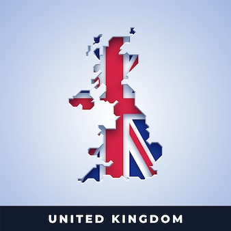 Map of united kingdom with flag