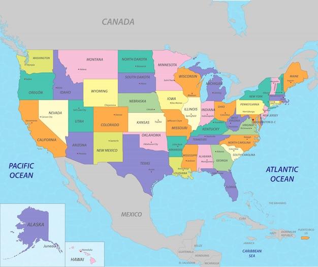 Карта соединенные штаты америки Premium векторы
