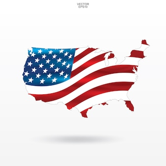 Map of the usa with american flag pattern and waving.