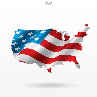Map of the usa with national flag