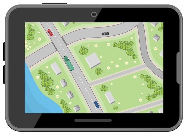 Map with driving directions, top view, black digital tablet, car navigation