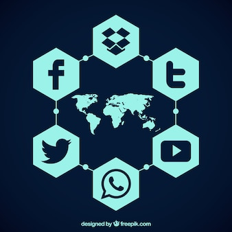Map with hexagonal social media icons