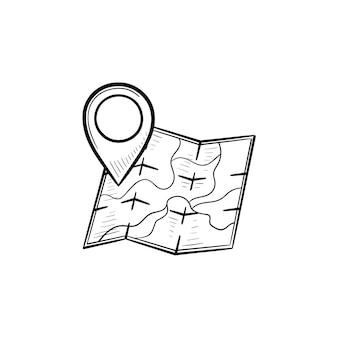 場所ピン手描きのアウトライン落書きアイコンと地図。方向と目的地、ランドマークと旅のコンセプト