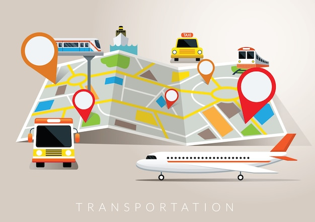 Map with mode of transport, plane, train, boat, bus, travel