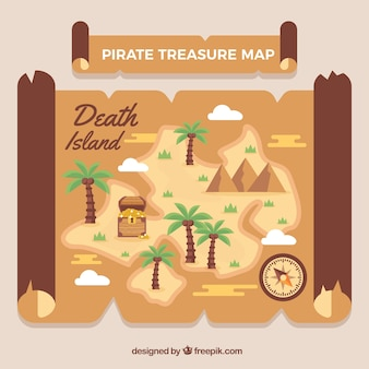 Map with palm trees and pirate treasure