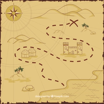Map with route for pirate treasure