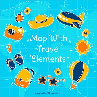 Map with travel elements in hand drawn style