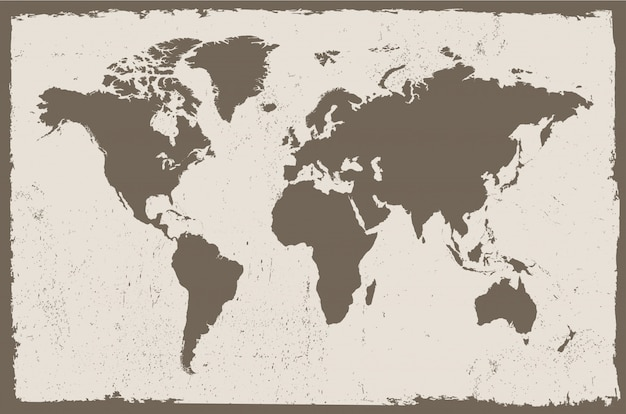 Map of the world in vintage style