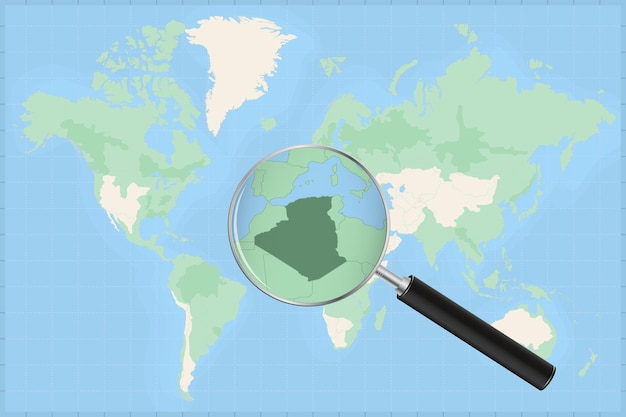 Map of the world with a magnifying glass on a map of algeria.