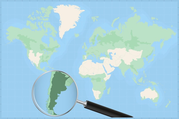 Map of the world with a magnifying glass on a map of argentina.