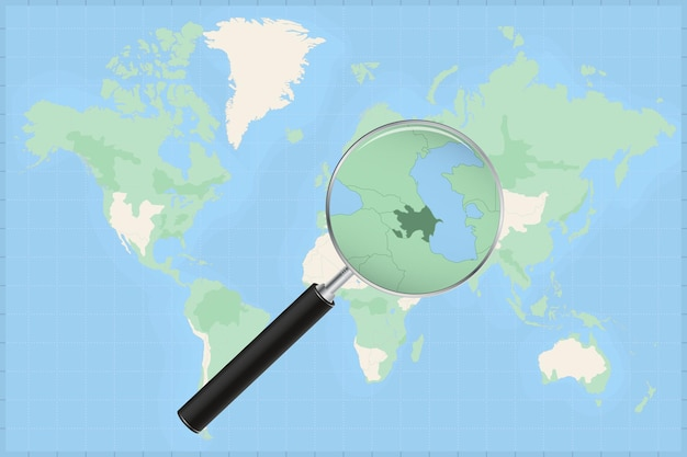 Map of the world with a magnifying glass on a map of azerbaijan.