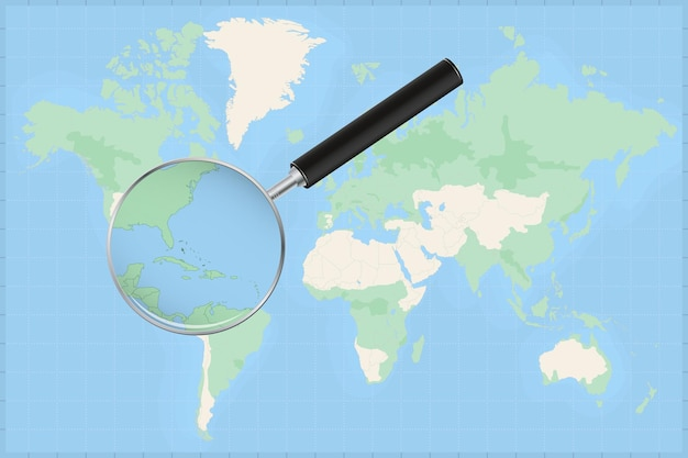 Map of the world with a magnifying glass on a map of the bahamas.