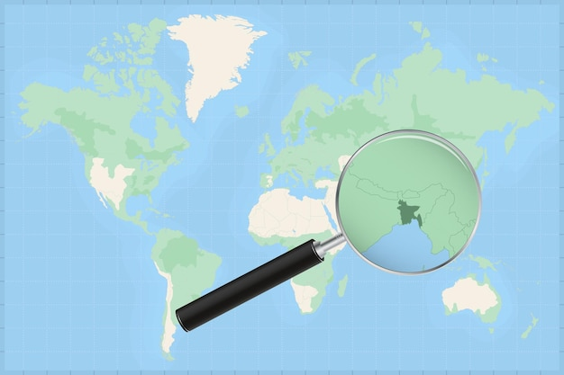 Map of the world with a magnifying glass on a map of bangladesh.