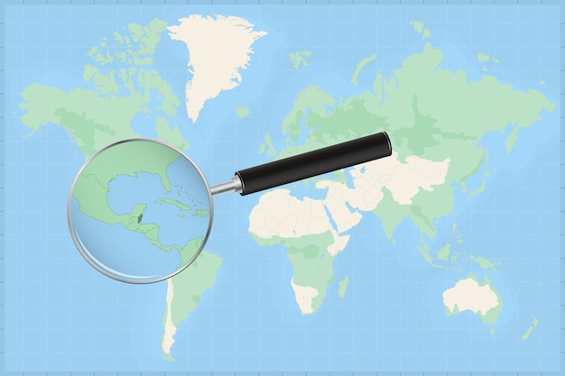 Map of the world with a magnifying glass on a map of belize.