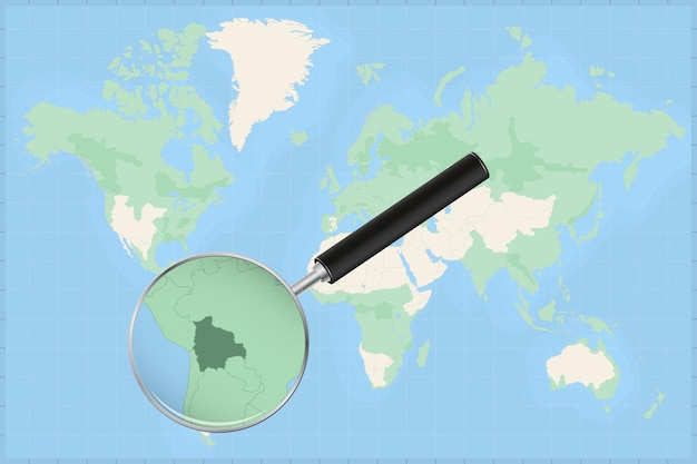 Map of the world with a magnifying glass on a map of bolivia.