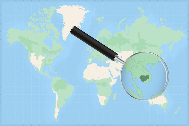 Map of the world with a magnifying glass on a map of cambodia.