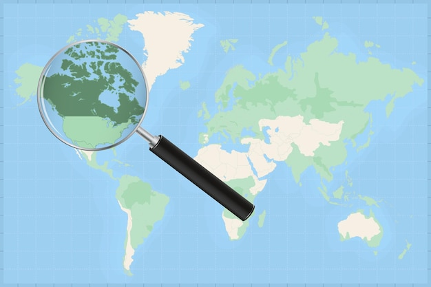 Map of the world with a magnifying glass on a map of canada.