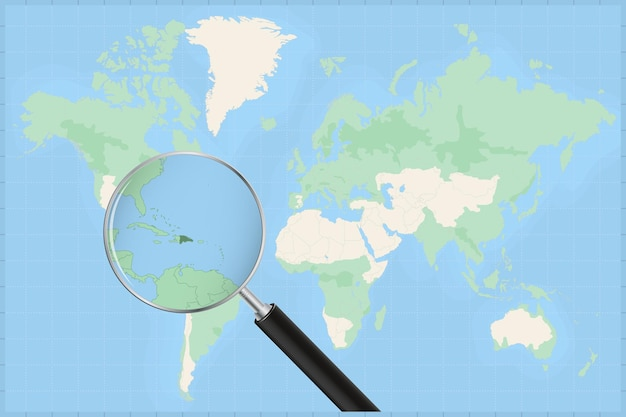 Map of the world with a magnifying glass on a map of dominican republic.