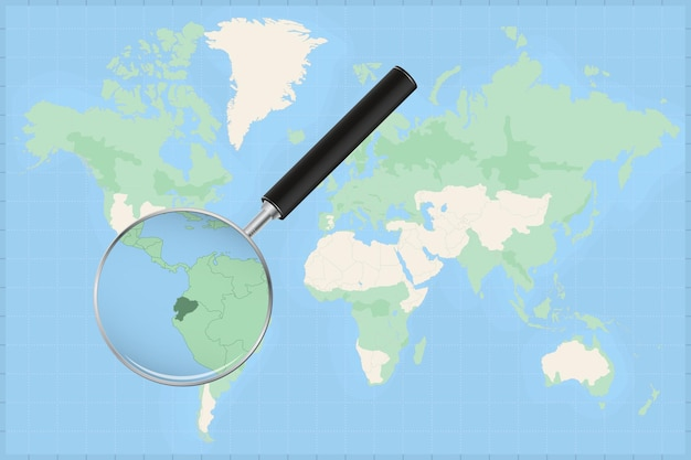 Map of the world with a magnifying glass on a map of ecuador.