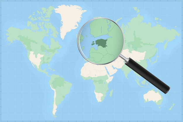 Map of the world with a magnifying glass on a map of estonia.