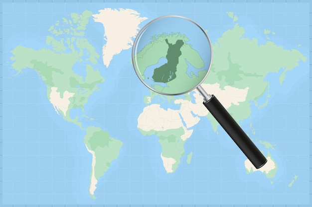 Map of the world with a magnifying glass on a map of finland.