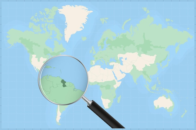 Map of the world with a magnifying glass on a map of guyana.