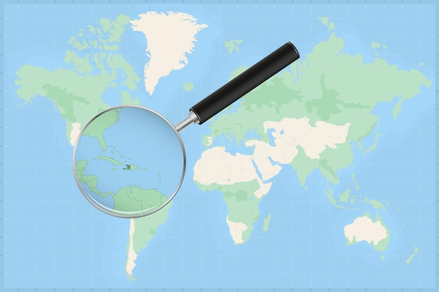 Map of the world with a magnifying glass on a map of haiti.