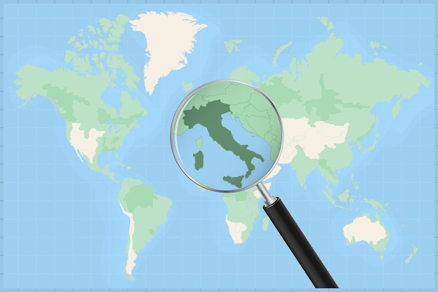 Map of the world with a magnifying glass on a map of italy.