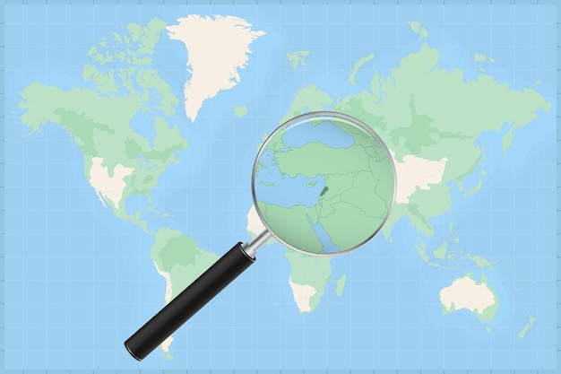 Map of the world with a magnifying glass on a map of lebanon.