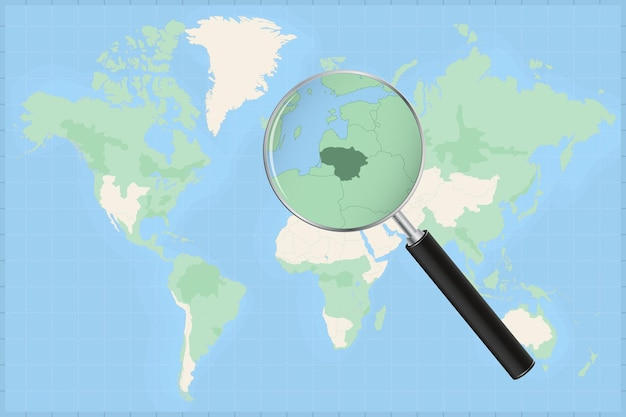 Map of the world with a magnifying glass on a map of lithuania.