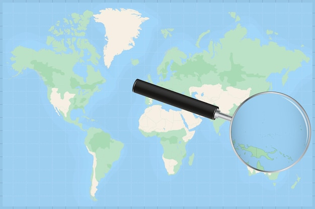 Map of the world with a magnifying glass on a map of micronesia.