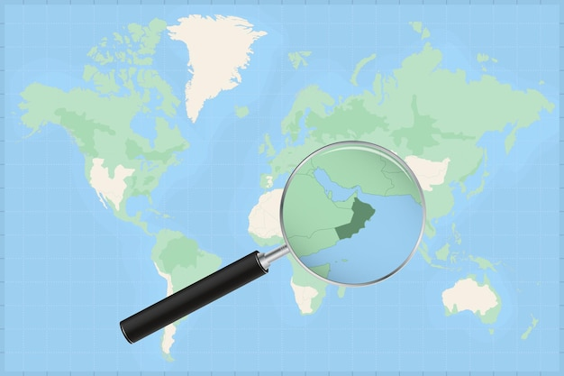 Map of the world with a magnifying glass on a map of oman.