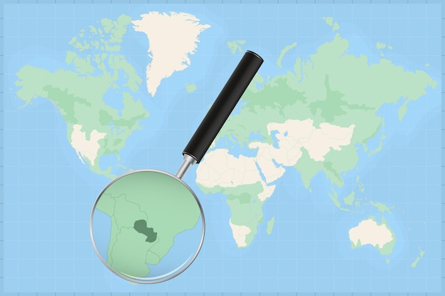 Map of the world with a magnifying glass on a map of paraguay.