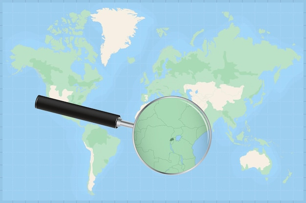 Map of the world with a magnifying glass on a map of rwanda.