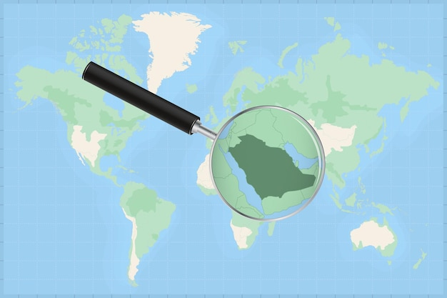 Map of the world with a magnifying glass on a map of saudi arabia.