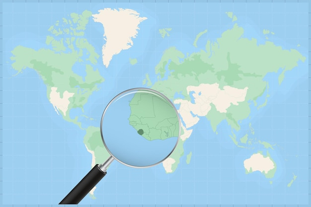 Map of the world with a magnifying glass on a map of sierra leone.