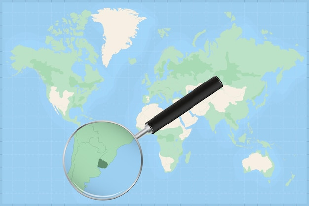 Map of the world with a magnifying glass on a map of uruguay.