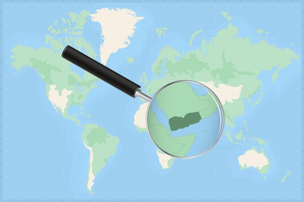 Map of the world with a magnifying glass on a map of yemen.