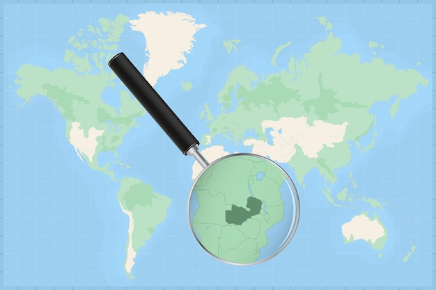Map of the world with a magnifying glass on a map of zambia.