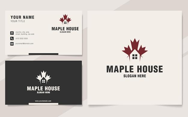 Maple house logo template on monogram style