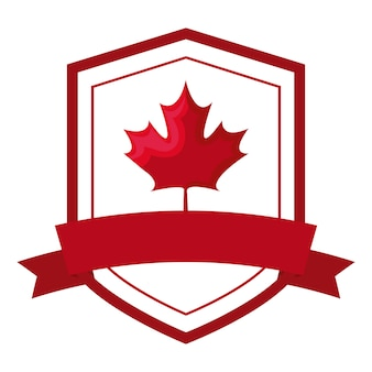 Maple leaf canada in shield with ribbon