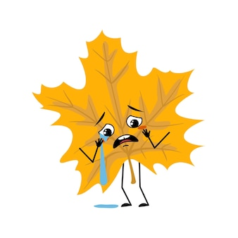 Maple leaf character with crying and tears emotion sad face depressive eyes arms and legs forest pla...