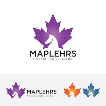 Maple leaf and horse logo template