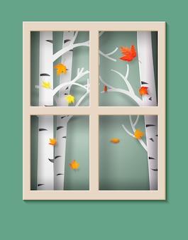 Кленовые листья падают с деревьев.