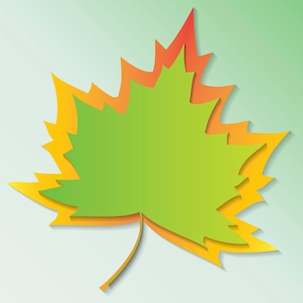 カエデの葉カラフルなフラットベクトルアイコン切り抜き紙フレーム黄色のカエデの葉