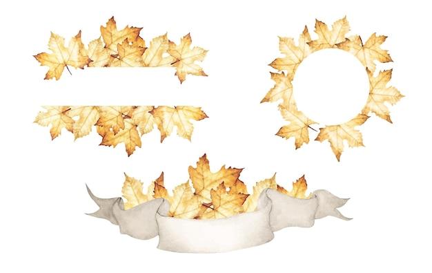メープルはフレームコレクションを残します。カエデの葉と秋の花輪のイラスト。水彩イラスト。