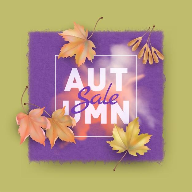 Кленовые листья с чистым листом текстурной бумаги. осенняя распродажа фон. осень