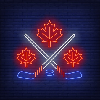 Maple leaves with crossed hockey sticks neon sign